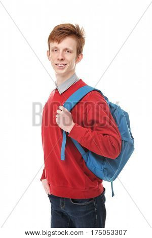 Teenager with schoolbag on white background
