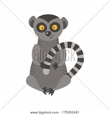 Lemur monkey rare animal vector. Cartoon macaque nature primate character. Wild zoo ape chimpanzee. Wildlife jungle happy art baby animal.