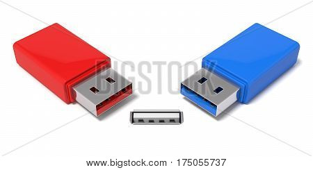 3d illustration of usb port and simple usb sticks. isolated on white.