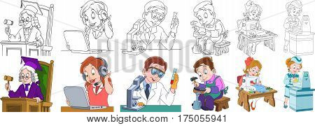 Cartoon working people set. Collection of professions. Judge operator of call center chemical scientist shoemaker (cobbler) seamstress (tailor) supermarket cashier. Coloring book pages for kids.