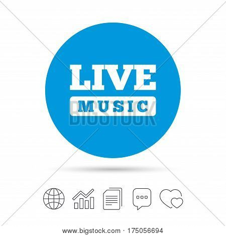 Live music sign icon. Karaoke symbol. Copy files, chat speech bubble and chart web icons. Vector