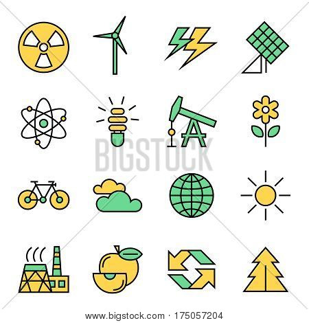 ecology line flat icons, vector illustraions, background