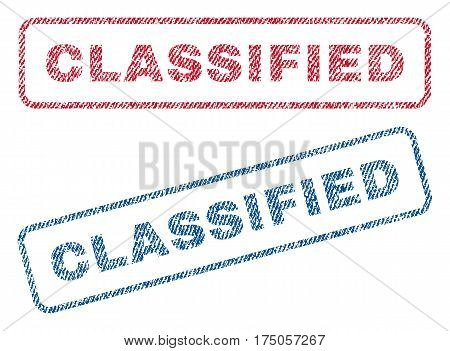 Classified text textile seal stamp watermarks. Blue red fabric vectorized texture. Vector caption inside rounded rectangular banner. Rubber sign with fiber textile structure.
