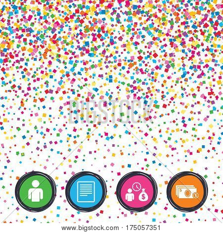 Web buttons on background of confetti. Bank loans icons. Cash money bag symbol. Apply for credit sign. Fill document and get cash money. Bright stylish design. Vector