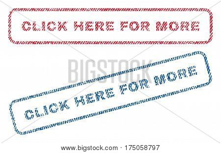 Click Here For More text textile seal stamp watermarks. Blue red fabric vectorized texture. Vector tag inside rounded rectangular banner. Rubber emblem with fiber textile structure.