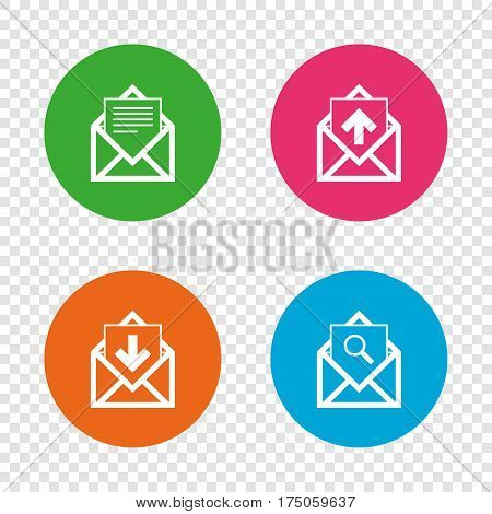 Mail envelope icons. Find message document symbol. Post office letter signs. Inbox and outbox message icons. Round buttons on transparent background. Vector