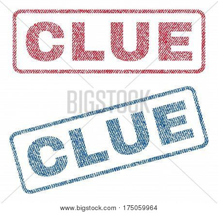 Clue text textile seal stamp watermarks. Blue red fabric vectorized texture. Vector tag inside rounded rectangular shape. Rubber sticker with fiber textile structure.