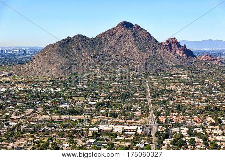 Aerial view of Camelback Mountain from Scottsdale Arizona looking west up Jackrabbit Road