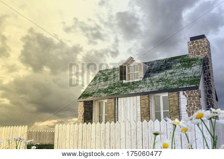 3d illustration of a wooden country house
