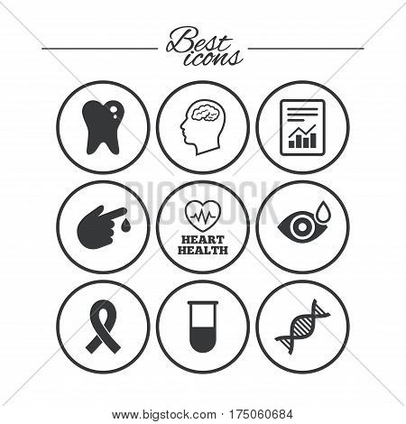 Medicine, medical health and diagnosis icons. Blood test, dna and neurology signs. Tooth, report symbols. Classic simple flat icons. Vector