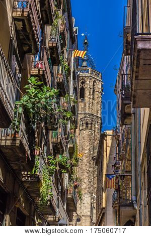 Bell Tower Of Cathedral of the Holy Cross and Saint Eulalia - Barcelona Catalonia Spain Europe