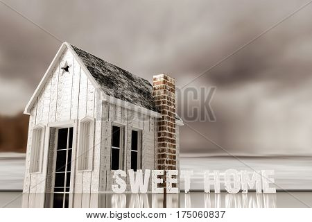 3d illustration of a small wooden house