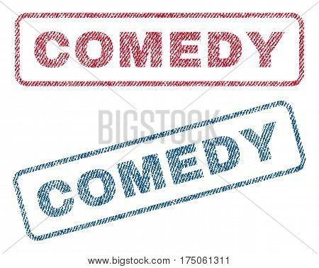 Comedy text textile seal stamp watermarks. Blue red fabric vectorized texture. Vector caption inside rounded rectangular shape. Rubber sign with fiber textile structure.
