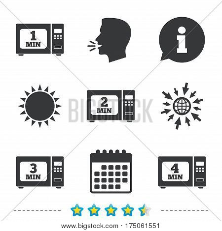 Microwave oven icons. Cook in electric stove symbols. Heat 1, 2, 3 and 4 minutes signs. Information, go to web and calendar icons. Sun and loud speak symbol. Vector