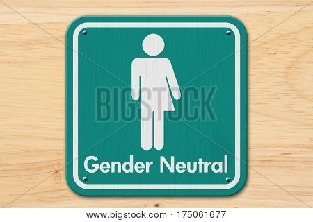 Transgender sign Teal and white sign with a transgender symbol with text Gender Neutral on wood 3D Illustration