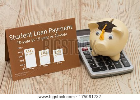 Learning about student Piggy bank with grad cap on calculator with greeting card and an infographic on the Student Loan Payment