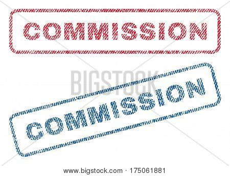 Commission text textile seal stamp watermarks. Blue red fabric vectorized texture. Vector tag inside rounded rectangular shape. Rubber sign with fiber textile structure.