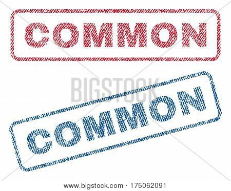 Common text textile seal stamp watermarks. Blue red fabric vectorized texture. Vector tag inside rounded rectangular banner. Rubber sticker with fiber textile structure.