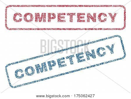 Competency text textile seal stamp watermarks. Blue red fabric vectorized texture. Vector tag inside rounded rectangular shape. Rubber emblem with fiber textile structure.