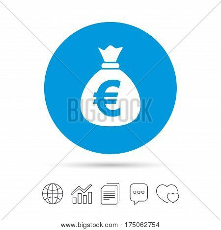 Money bag sign icon. Euro EUR currency symbol. Copy files, chat speech bubble and chart web icons. Vector