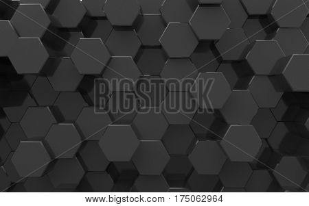 3d surface. Background from hexagons, black color
