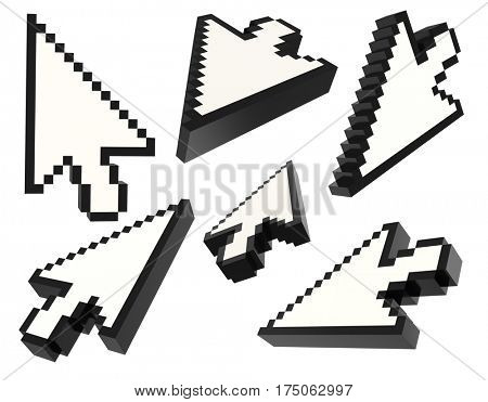 Set of 3d pixel arrow cursor isolated on white. different views