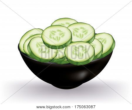 Slices of cucumber ina bowl on white background
