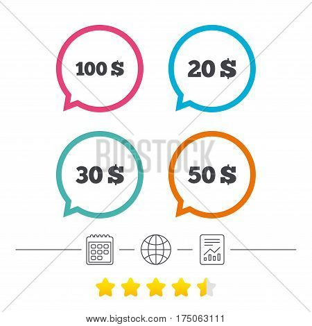 Money in Dollars icons. 100, 20, 30 and 50 USD symbols. Money signs Calendar, internet globe and report linear icons. Star vote ranking. Vector