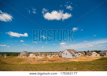 TWINSBURG OH - JULY 10 2016: A new housing development takes over former farm land in this rapidly growing Cleveland suburb.