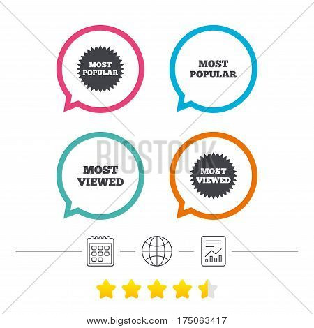 Most popular star icon. Most viewed symbols. Clients or customers choice signs. Calendar, internet globe and report linear icons. Star vote ranking. Vector