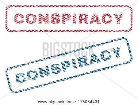 Conspiracy text textile seal stamp watermarks. Blue red fabric vectorized texture. Vector tag inside rounded rectangular banner. Rubber sign with fiber textile structure.
