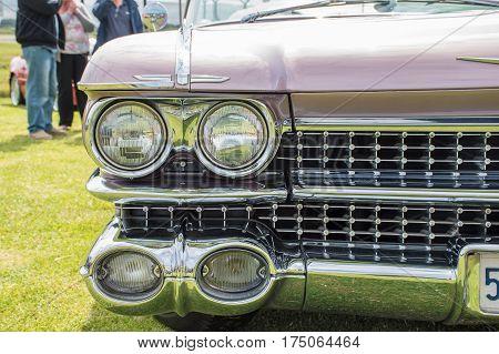 Close View Of A Classic Car Headlight