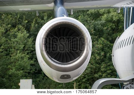 Aircraft Jet engine mounted on a wing