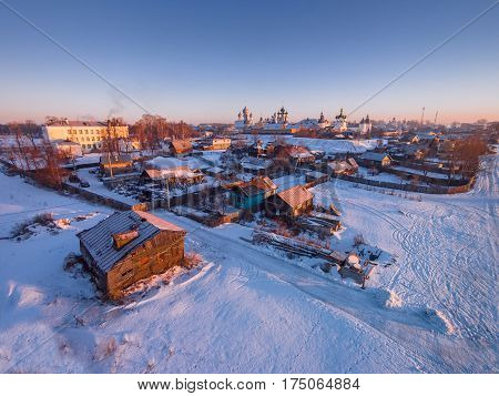 Russian province. The ancient town of Rostov the Great bird's-eye view. Frosty morning. Winter. Rostov Kremlin in the background. Yaroslavl Region. Russia