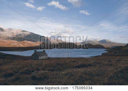 Lonely hut, Scottish Highlands