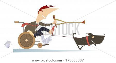 Dog hauling a sick man in the wheelchair by the rope. Comic man with bandage on the broken leg sitting in the wheelchair and points a dog, hauling him by rope