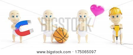 set baby 3d in different occupations and different objects on a white background 3D illustration