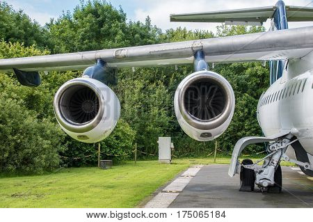 Two Jet engines mounted on a wing
