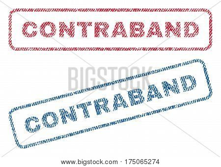 Contraband text textile seal stamp watermarks. Blue red fabric vectorized texture. Vector tag inside rounded rectangular shape. Rubber emblem with fiber textile structure.