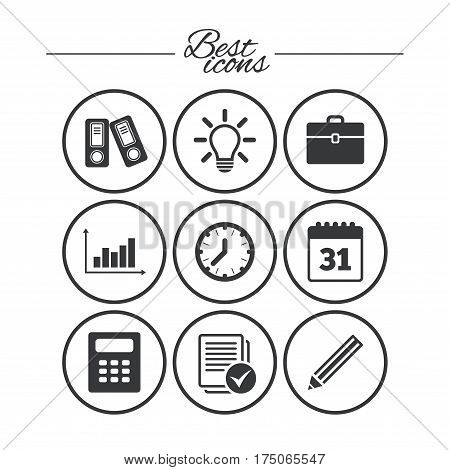 Office, documents and business icons. Accounting, calculator and case signs. Ideas, calendar and statistics symbols. Classic simple flat icons. Vector