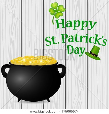 Poster St. Patrick hat with clover and cylinder vector illustration
