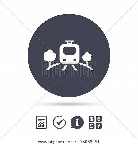 Overground subway sign icon. Metro train symbol. Report document, information and check tick icons. Currency exchange. Vector