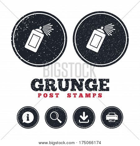 Grunge post stamps. Graffiti spray can sign icon. Aerosol paint symbol. Information, download and printer signs. Aged texture web buttons. Vector