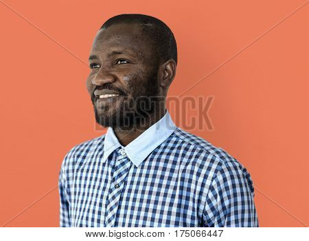 African man mustache smiling studio portrait poster
