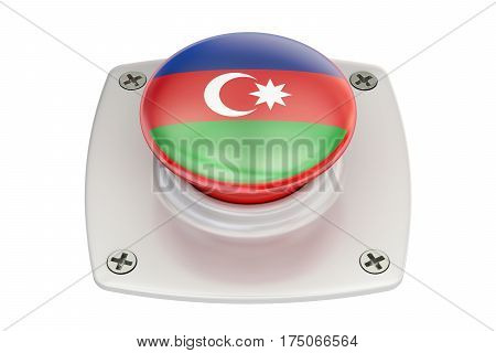 Azerbaijan flag push button 3D rendering  isolated on white background
