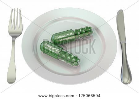 Diet and healthy meal concept. Plate with vitamin B12 capsules 3D rendering