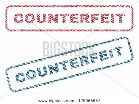 Counterfeit text textile seal stamp watermarks. Blue red fabric vectorized texture. Vector caption inside rounded rectangular shape. Rubber emblem with fiber textile structure.
