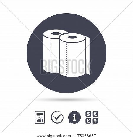 Paper towels sign icon. Kitchen roll symbol. Report document, information and check tick icons. Currency exchange. Vector