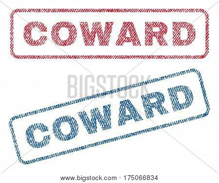 Coward text textile seal stamp watermarks. Blue red fabric vectorized texture. Vector caption inside rounded rectangular banner. Rubber emblem with fiber textile structure.