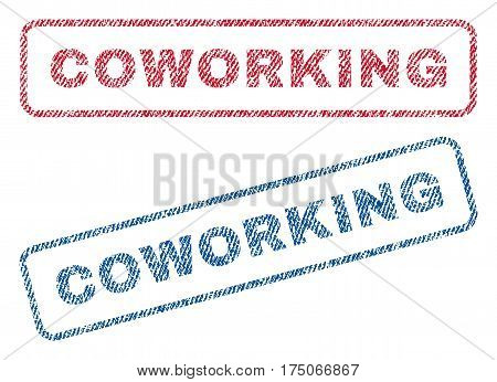 Coworking text textile seal stamp watermarks. Blue red fabric vectorized texture. Vector tag inside rounded rectangular banner. Rubber sign with fiber textile structure.